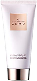 ZEMU Rose Pack Facial Cleansing Foam 4.0 oz, Made with Damask Rose and Natural Zeolite Mud, Irritation Free, Hydrating Korean Deep Cleansing Face Wash for Sensitive Skin, Remove Blackheads