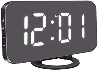 "KeyZone 6.5"" Digital Alarm Clock, Mirror Surface Clock with Dual USB Port for Bedroom, Living Room (Black)"