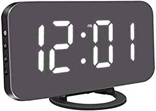 "KeyZone 6.5"" Digital Alarm Clock, Mirror Surface Clock with Dual USB Port for Bedroom, Living Room (Black)"