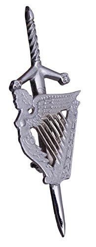 Celtic Irish Harp Highland Scottish Kilt Pins In Chrome Finish/Brooch Kilt Pin