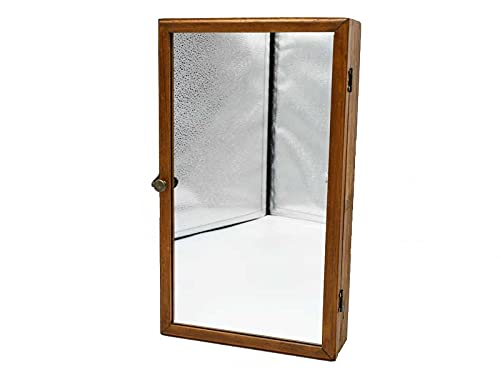ミラーディスプレイケース ジュエリーケース アクセサリー ディスプレイ コレクション 鏡 壁掛け ガラス インテリア ショップ用 木製 おしゃれ インテリア アジアン雑貨