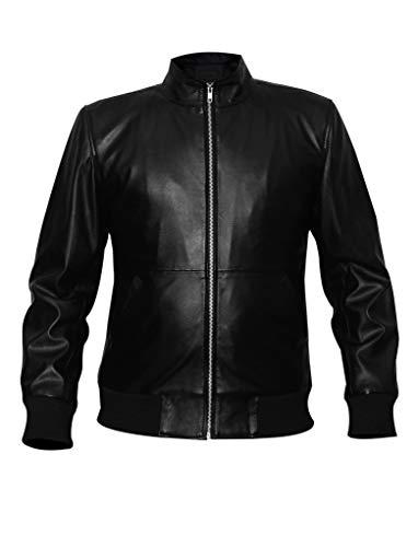 Pelletteria Factory Bomber - Chaqueta de piel de napa española suave para hombre, color negro - negro - Small