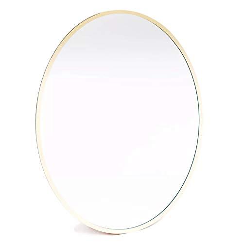 Locker Style Magnetic Gold Trim Oval Mirror 9' x 7'