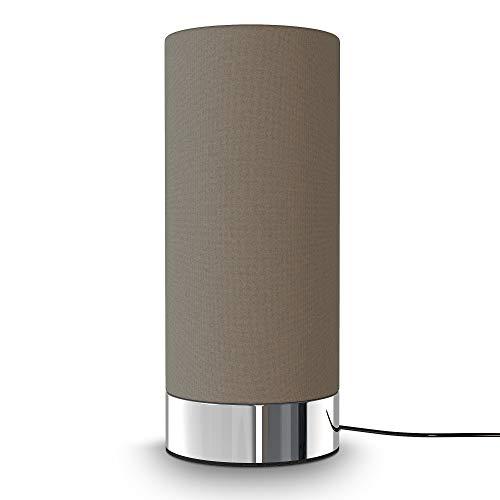 B.K.Licht I Stoff-Tischlampe Taupe I Touchfunktion I 3-fach dimmbar I E14 I Chromsockel I ohne Leuchtmittel