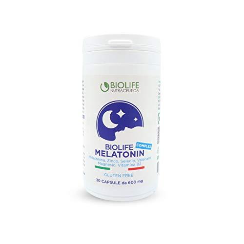 Biolife Melatonin Complex || Melatonina in Capsule 30cps da 600mg || Formulazione con ZINCO, SELENIO, MAGNESIO, VITAMINA B2 e VALERIANA e.s. | Made in Italy