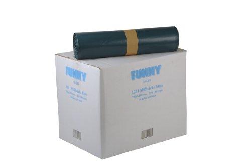 Funny LDPE Müllsäcke, 700 x 1100 mm - Typ 100 extra , blau, circa 120 L, 1er Pack (1 x 200 Stück)