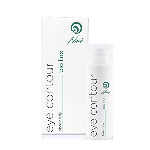 Nuvo' Augencreme mit 72% Schneckenschleim Hyaluronsäure Maxi Flakon 30 ml -BIO-ZERTIFIZIERT- Anti-Aging & Anti-Falten Augenkontur, Maenner, Frauen gegen muede Augen 100% Made in Italy