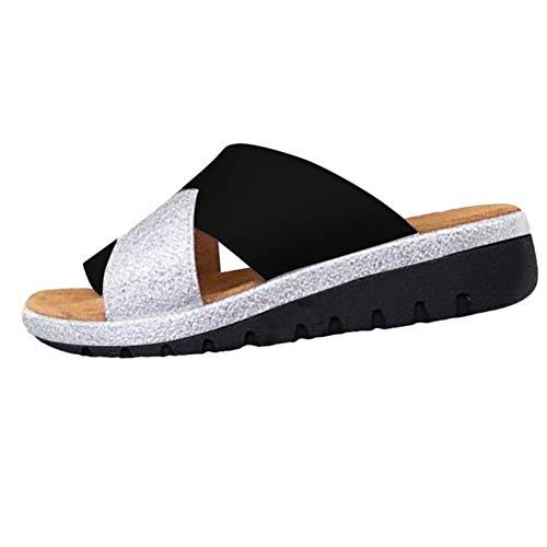 RUIMI Sandalia de Plataforma Cómoda para Mujer,Zapatillas de Suela Plana Correctas,Sandalias de...