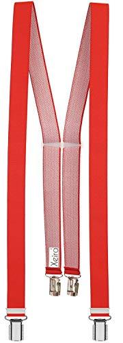 Xeira Hosenträger Rot für Damen mit 4 stabile Clips - 25mm Breit