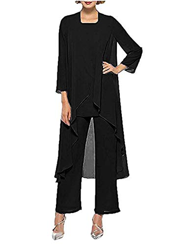 Elegant Chiffon 3 Piece Mother of The Bride Dress Pantsuits Groom Mother Outfit 3/4 Sleeve