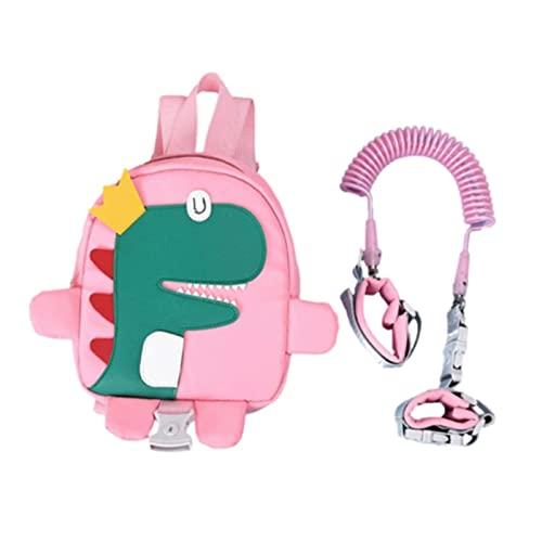 LEMORTH Cuerda anti-perdida de mochila linda, riendas para niños pequeños, arnés de caminar bebé Dinosaurio Arnés y riendas, para caminar 1-3 años con cinturón de enlace de muñeca de seguridad perdida