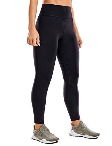 CRZ YOGA Donna Vita Alta Yoga Fitness Spandex Palestra Pantaloni Sportivi 7/8 Leggins con Tasche-63cm Nero-R009 42