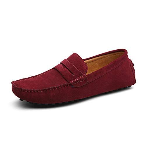 Hombres Mocasines Zapatos Cuero Genuino Moda Verano