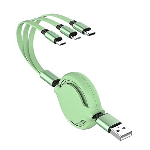 richao 3 En 1 Multi Cable De Carga 1.2M Multiple USB Cargador Universal Múltiple Cable Cargador Portabale Micro USB Tipo C Durable para Android Verde Claro