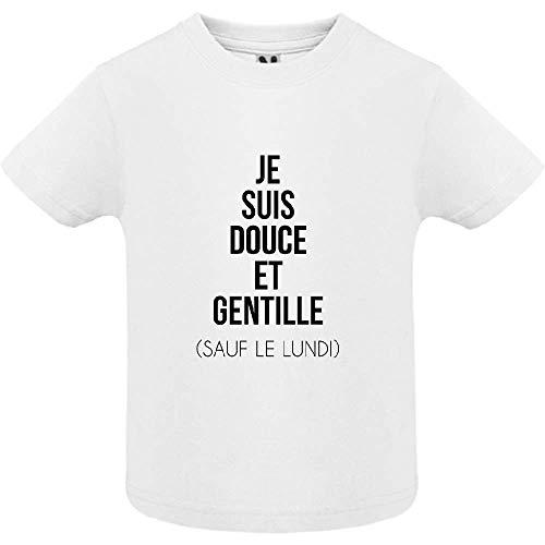 LookMyKase T-Shirt - Manche Courte - Col Rond - Je suis Douce et Rebelle - Bébé Garçon - Blanc - 18mois