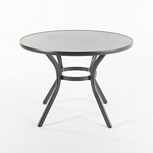 Edenjardi Mesa de terraza Redonda, Tamaño: 105x72 cm, Aluminio y Cristal Templado con Acabado cerámico