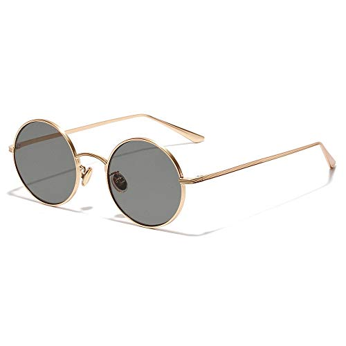 Gafas de Sol de Marco Redondo de Metal Gafas de Sol de Círculo Estilo Vintage Retro Gafas de Sol Polarizadas para Hombre y Mujer (Color : Green, Size : 14x13.5x5cm)