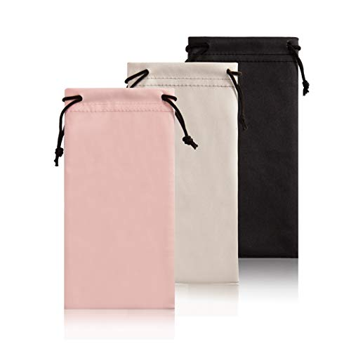 Drawstring Soft Glasses Pouch Linen- Fabric 3 Pack Storage Phone Pouch Microfiber Sunglasses Case Storage Eyeglasses Pouch Cleaning Cloth Pink Sunglass Sleeve