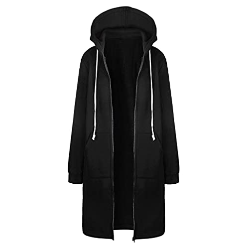 KUKICAT Manteau Zippée à Capuche Femme Longue Sweatshirt Grande Taille Hoodie Hiver Chaud Veste Coupe-Vent avec Poches