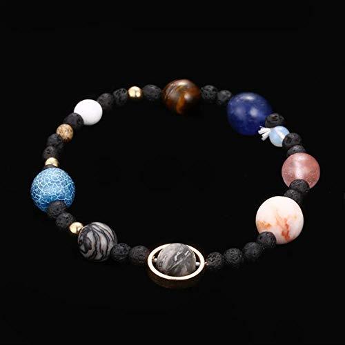 BDCF Armband Handgemachte Solar System Armband Universum Galaxy die acht Planeten Sterne Naturstein Perlen Armbänder Armreifenmulticolor
