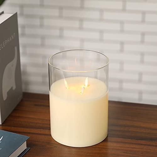JHY DESIGN Velas sin llama de 3 mechas de 8 pulgadas de alto funcionamiento con pilas LED parpadeantes con función de temporizador de 6 horas, vela de cristal para decoración del hogar, bodas.