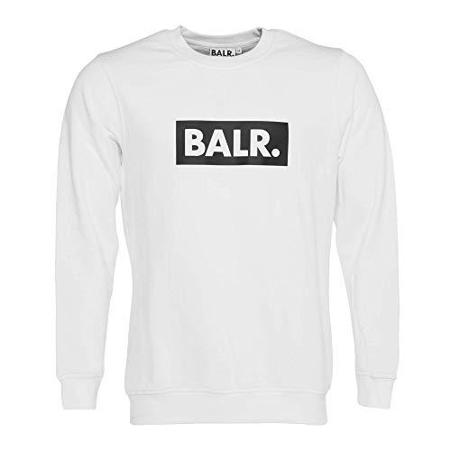 Bal. Mannen Brand Club Crew Neck sweater met ronde hals van hoogwaardig zacht katoen gemaakt - zwart - wit - grijs - marineblauw