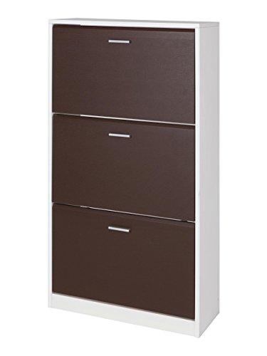 MUEBLECASA- Zapatero 3 puertas KIT, madera, Chocolate, Capacidad para 24 pares, 127cm Alto x 65cm Ancho x 25cm Fondo