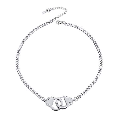 ChainsPro Handcuff Necklace Silver Layered Choker Necklaces for Women 4mm Curb Chain 35cm Silver Choker Chain