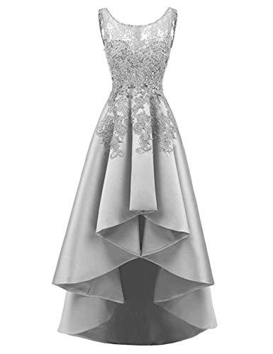 HUINI Elegant Abendkleider Ärmellos Spitzenkleider Vintage Cocktail Partykleider Wadenlang Satin Brautkleider Hochzeitskleider Silber 52
