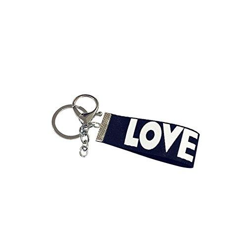 Bigboba 3 pcs Chiffon ruban Porte-clés en métal personnalisé Amour Keychain Pendentif petit Cadeau Porte-clés Sac à main de voiture téléphone Décoration 12*2.5 cm, Métal, Noir , 12*2.5cm
