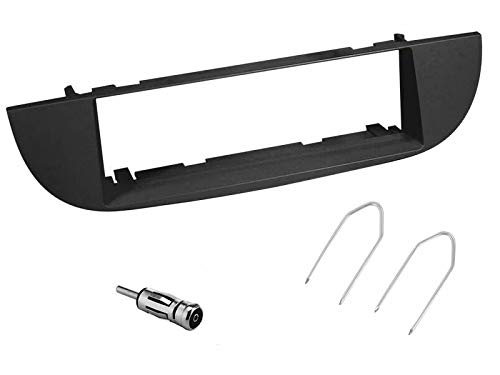 sound-way Kit Montage Autoradio, Cadre Façade 1 DIN, Adaptateur Antenne, Clés de Démontage Compatible avec Fiat 500 Cinquecento