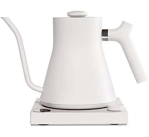 Stagg EKG Electric Pour-Over Kettle For Coffee And Tea, Matte White, Variable Temperature Control, 1200 Watt Quick Heating, Built-in Brew Stopwatch