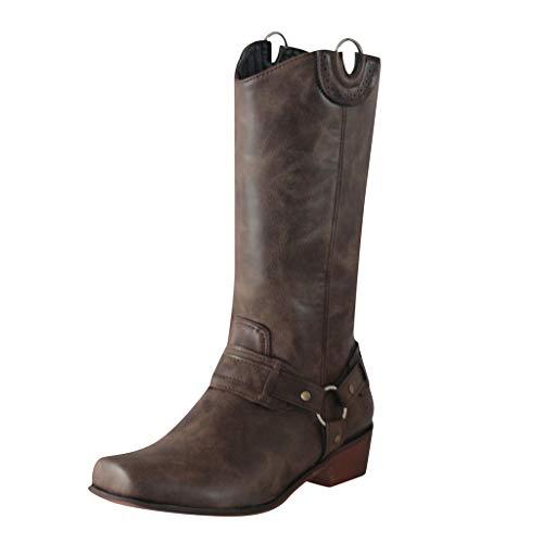 Stivaletti Stivali Western Stivali da Donna Classici con Tacco Basso e Testa Quadrata Ricamata da Cowboy Occidentale da Rodeo (39,Marrone)