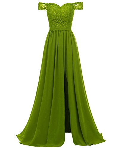 Molisa Off Shoulder Lace Bridesmaid Dress with Slit Chiffon Prom Dresses Long Wedding Evening Gown Olive Green Size 26