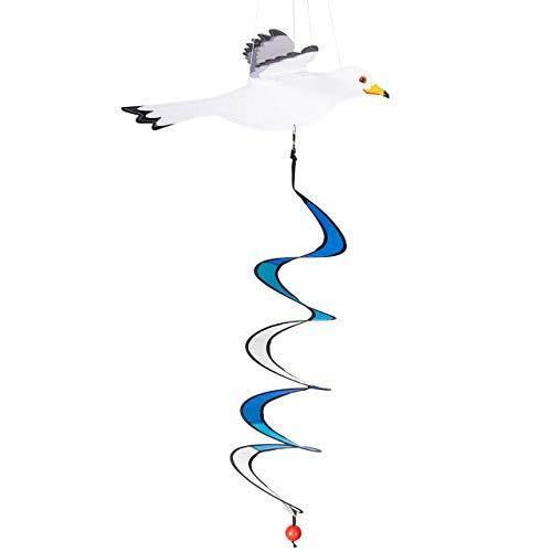 CIM Windspiel - Sturmmöwe Twister - UV-beständig und wetterfest - Motiv: 29x36cm, Spiralen-Ø: 10cm, Länge: 75cm - inkl. Kugellagerwirbelclip