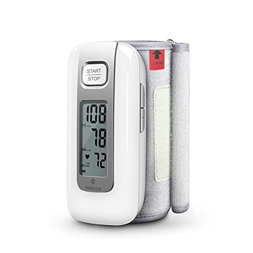 Panacare Oberarm Blutdruckmessgerät All in One, Tragbare Automatisches Oberarm Blutdruckmonitor Eingebaute Batterie/Arrhythmie/ 23-36cm breite Manschette, Kabelloses Digitales BP Gerät