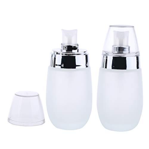 2 Stück 50ml Leer Glas-Flakon Gel-Spender mit Pumper Pumpflasche, Gel, Lotion-Spender Creme Kosmetik Sprühflasche - Silber
