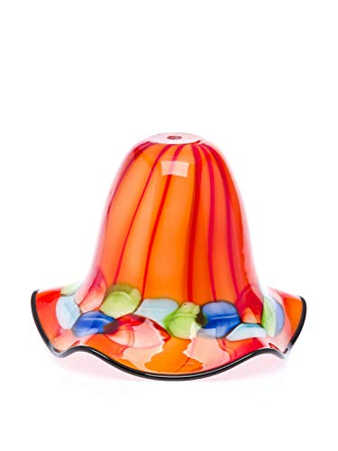 Lampenschirm Tischlampe Lampe Glas Glasschirm Murano Stil glass lampshade orange
