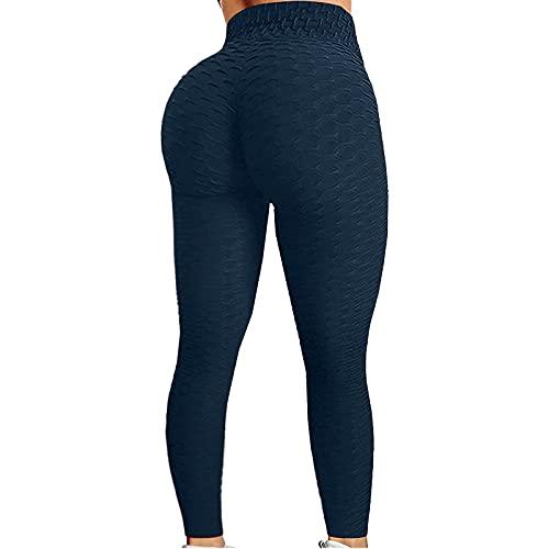 Leggings de deporte anticelulítico Slim Fit Butt Lift leggings de deporte pantalones de yoga compresión cadera con burbujas azul marino S