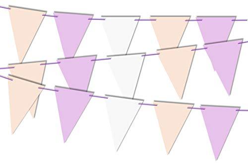 RPP 21 Stück Pastellrosa lila weiß dreieckige Flaggen Girlande Girlande Wimpelkette für Party Hochzeit Geburtstag Mädchen Taufe Dekoration mit 10 m Schnur
