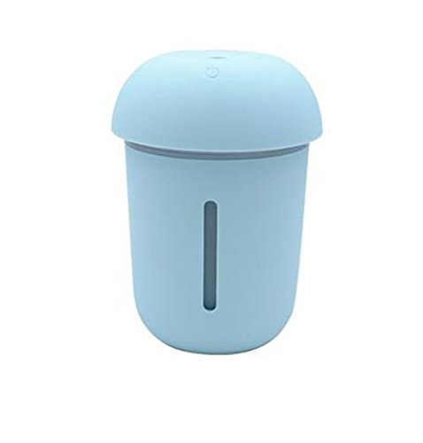 [ミートン] ミニ 加湿器 卓上加湿器 扇風機付き LEDライト付き 3in1 USB充電 大容量 静音 スチーム 補水 空焚き防止 オフィス 車用 プレゼント ブルー