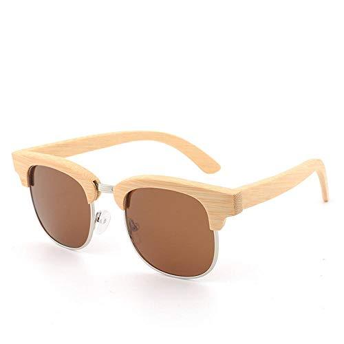 GY-HHHH Gafas de sol de montura de madera de medio fotograma - Gafas de sol polarizadas para conducir - Gafas deportivas para exteriores - Protección UV400 - Amarillo