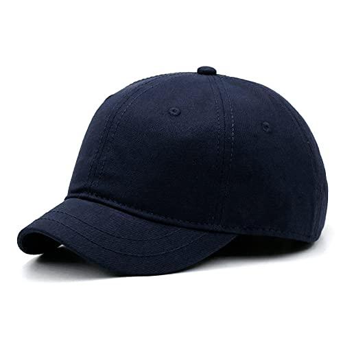 Gorra de béisbol de color sólido con ala pequeña, sombrero para el sol de verano para hombres y mujeres, gorra ecuestre de ocio al aire libre, gorras deportivas de gran tamaño, 55-63 cm (azul marino)