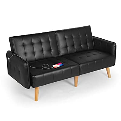 "Folding Futon Sofa Bed with USB 65"" L Large Loveseat Sofa, Suitable for Small Space Configuration, Apartment, Dormitory"