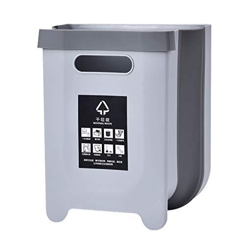 Zaza Bins Trash Can, Hanging Wall-mounted Waste Bin, Torage Bucket Folding Paper,cabinet/car/bedroom/bathroom Foldable Mini Trash Can Decorative Urns (Color : Gray, Size : Large)