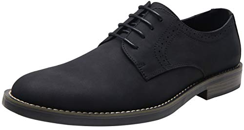 JOUSEN Men's Black Dress Shoes Suede Casual Dress Shoes for Men(AMY709 Black 10.5)