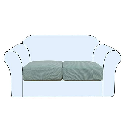 Stretch Cushion Cover Sofa Cushion Covers 2 Seaters Furniture Protector Loveseat Sofa Covers Washable Sofa Cushion Cover Sets Flexibility with Elastic Bottom (2-Piece Loveseat Cushion,Sage)