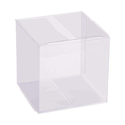 BENECREAT 60PCS 6x6x6cm Klare Würfel Hochzeitsbevorzugungskästen PVC Transparente Würfel Geschenkboxen für Süßigkeiten Schokolade Valentinstag, Muttertag, Geschenk