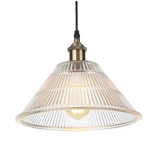 Lámparas colgantes, iluminación ajustable en altura de metal industrial vintage, lámparas de techo colgantes de vidrio para baño con isla de cocina,Bronce