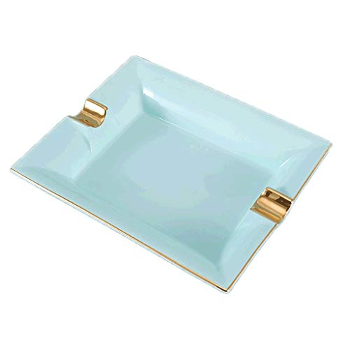 ZANZAN Cenicero a Prueba de Viento Luz de Lujo de Oro de Oro de China cigarro cenicero de Escritorio Cigarrillo cenicero para la decoración de la Oficina en casa (Color : Aqua Blue 8 Inch Gift Box)
